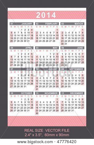 Pink Pocket Calendar 2014, Start On Sundaysize: 2.4