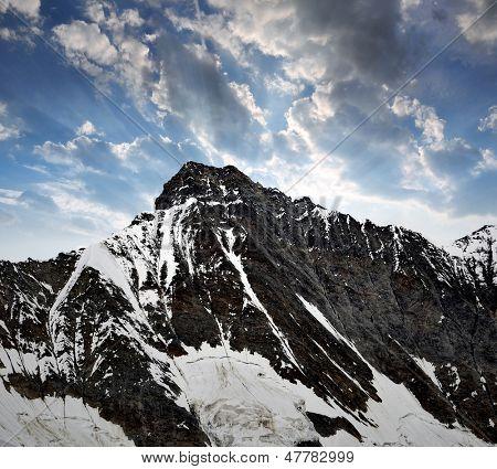 Mount Taschhorn in the sunset - Swiss alps