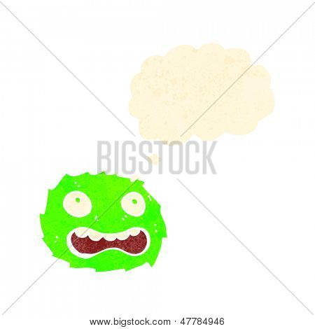 poster of retro cartoon little furball monster with thought bubble