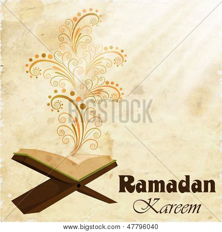 Holy month of muslim community Ramadan Kareem concept with open islamic religious book Quran Shareef on floral decorated background. poster