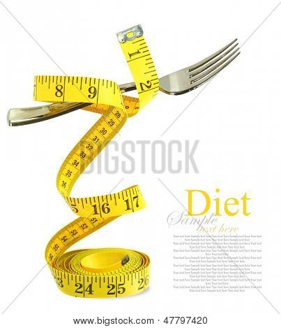 Balanced diet represented by a fork on measuring tape