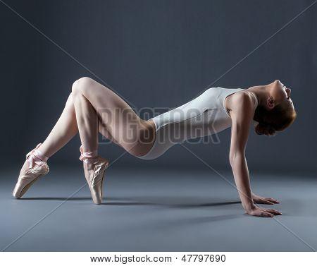 Portrait of emotional graceful dancer on pointes