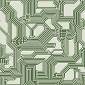 Vector seamless background of electrical circuit of computer board device (motherboards). poster