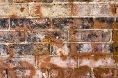 A Grungy dirty old brick wall with graffiti and paint poster