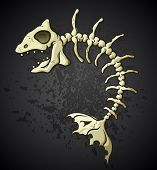 A cartoon of the skeleton of a dead fish bones on a dark splattered background. poster