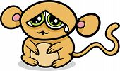 Cartoon Illustration of Kawaii Style Cute Sad Monkey poster