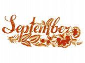 September name of the month hand drawn illustration in Ukrainian folk style poster