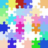 texture of colorful bright jigsaw puzzle pieces poster