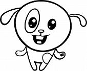 Black and White Cartoon Illustration of Kawaii Style Cute Happy Dog or Puppy to Coloring Book poster