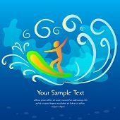 Blue surfing background, vector illustration. This is file of EPS10 format. poster