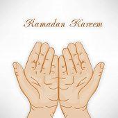Muslim praying hands concept for Ramadan Kareem. poster