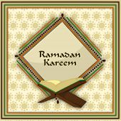 Holy month of muslim community Ramadan Kareem concept with open islamic religious book Quran Shareef on abstract background. poster