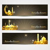 vector set of ramadan kareem and eid headers poster