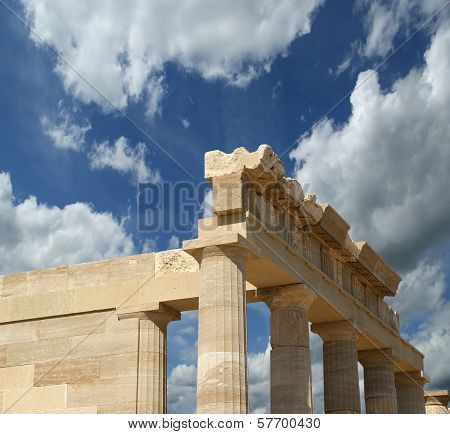 Partially rebuilt temple of Athena Lindia at the Acropolis of Lindos, Rhodes island, Greece