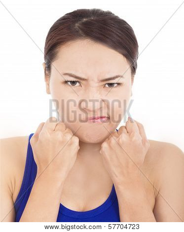 Pretty Girl Fist Angrily And Facial Expression