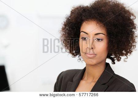 Sad Wistful African American Businesswoman