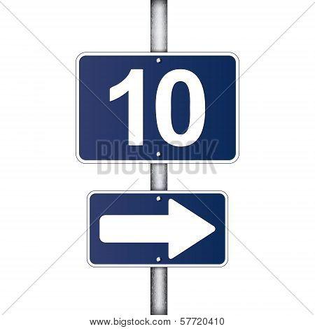 Ten Kilometer Sign