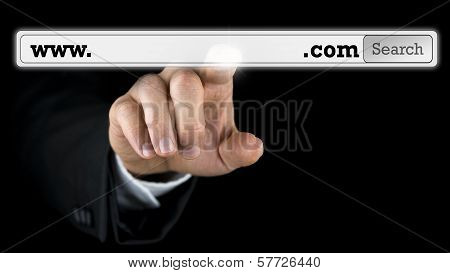 Man Accessing A Domain Name On A Virtual Screen