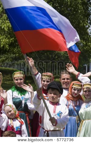 Banja Luka - June 21 - Young People In Traditional Russian Ethnic Clothing On International Folk Dan