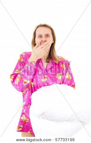 Woman With Pillow Yawning
