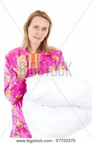 Blond Woman Starts New Day With Cup Of Tea