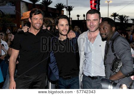 Hugh Jackman and Taylor Kitsch with Liev Schreiber and Will i Am at the United States Premiere of 'X-Men Origins Wolverine'. Harkins Theatres, Tempe, AZ. 04-27-09