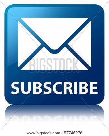 Subscribe (email icon) Glossy Blue Reflected Square Button