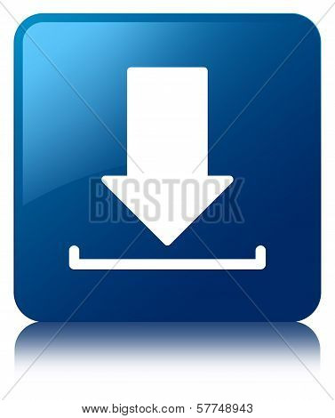 Download Icon Glossy Blue Reflected Square Button