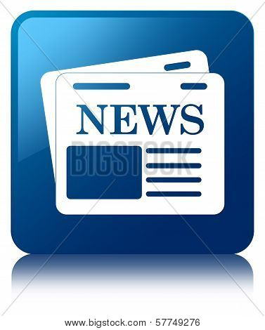 News Paper Icon Glossy Blue Reflected Square Button