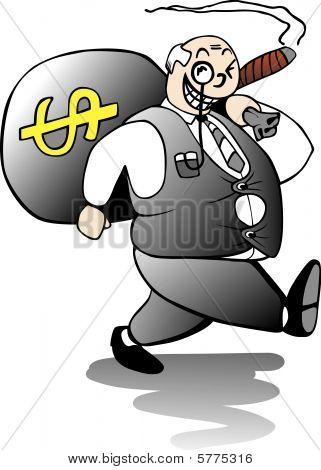 Fat Banker Walking Away With A Huge Sack Of Bonus Money