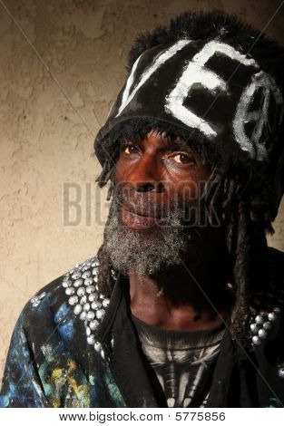 Portrait Of A Transient  Homeless African American Man