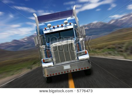 Semi Truck Isolated On A White Background