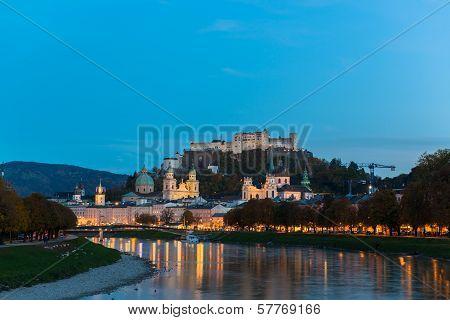 Twilight view of Salzburg old town, Austria