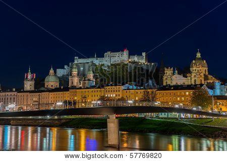 Night view of Salzburg old town, Austria