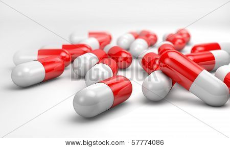 a series of gelatin capsules