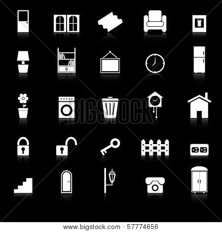 House Related Icons With Reflect On Black Background