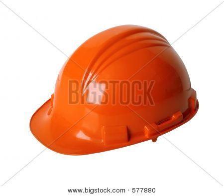 Construction workers hard hat isolated on white with clipping path poster