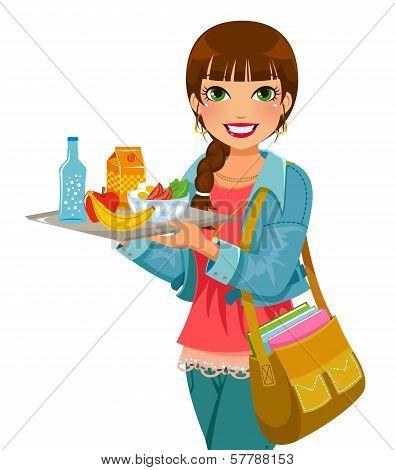 girl having lunch