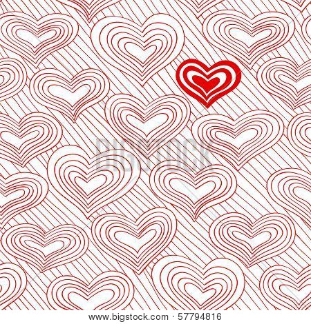 Red And White Doodle Pattern With Hearts