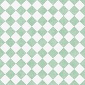 Pale Green and White Diagonal Checkers Textured Fabric Background that is seamless and repeats poster