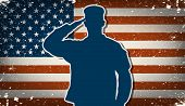 US Army soldier saluting on grunge american flag background vector poster