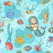 Blue seamless pattern with mermaid. Cartoon vector background. poster