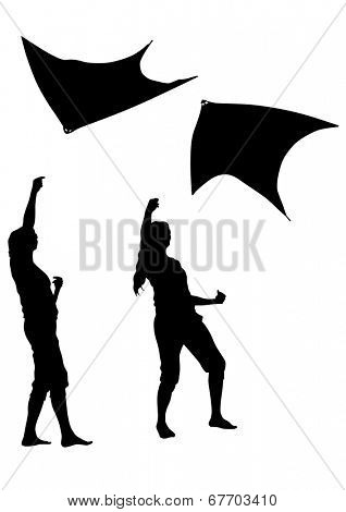 Silhouette of a girl with a kite on white background