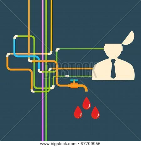 Vector flat icon man and leaky blood