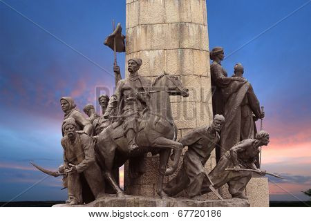 Monument to the heroes of the liberation war of 1648-1654, Zamkova Hora museum, Subotiv, Ukraine poster