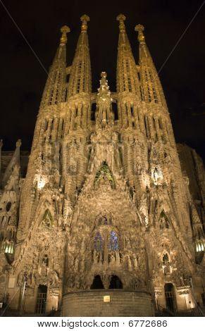 Barcelona - cathedral Sagrada la Familia in night - east facade Gaudi