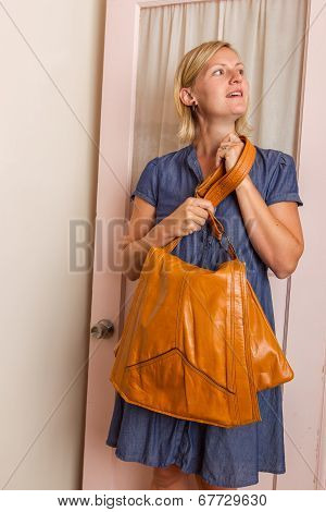 Woman In Blue Dress With A Light Brown Purse