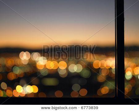 Blurred Lights Seen Through Window
