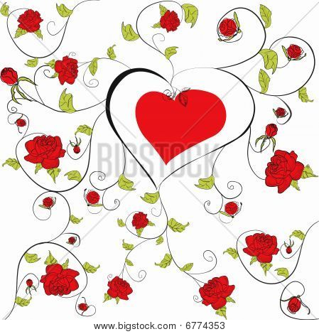 Decorative heart with floral ornament