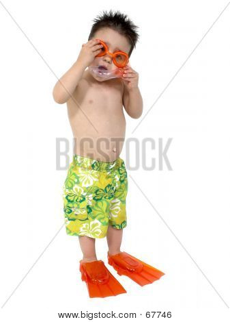 Adorable Boy Ready To Snorkel Over White